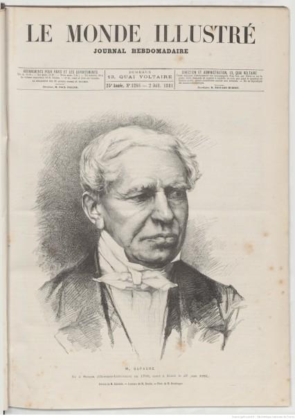 Le Monde illustré, 2.7.1881. Jules Dufaure (1798-1881), photo : Reutlinger, dessin : Albert Edelfelt, gravure : Charles Baude. Source Gallica / BnF
