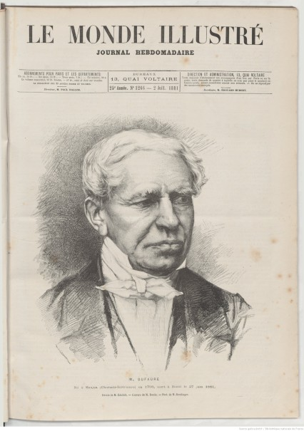 Le Monde illustré, 2.7.1881. Jules Dufaure (1798-1881), photo : Reutlinger, dessin : Albert Edelfelt, gravure : Charles Baude. Source Gallica / BnF
